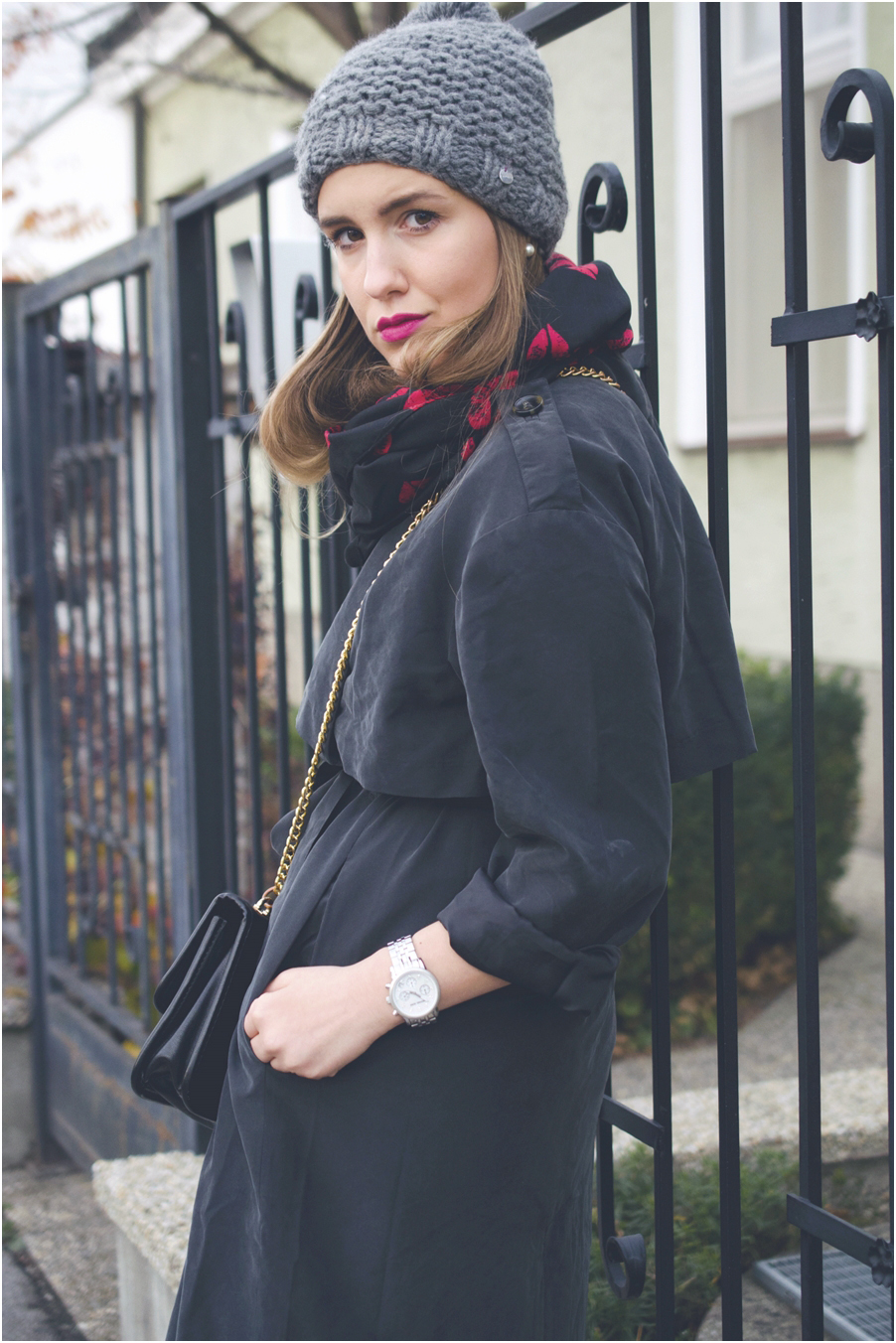 beanie trench coat scarf