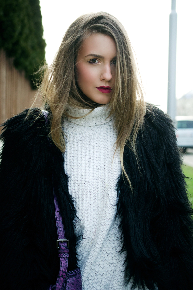fur jacket fashion blogger