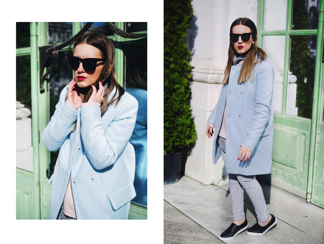 light blue coat - fashion blogger