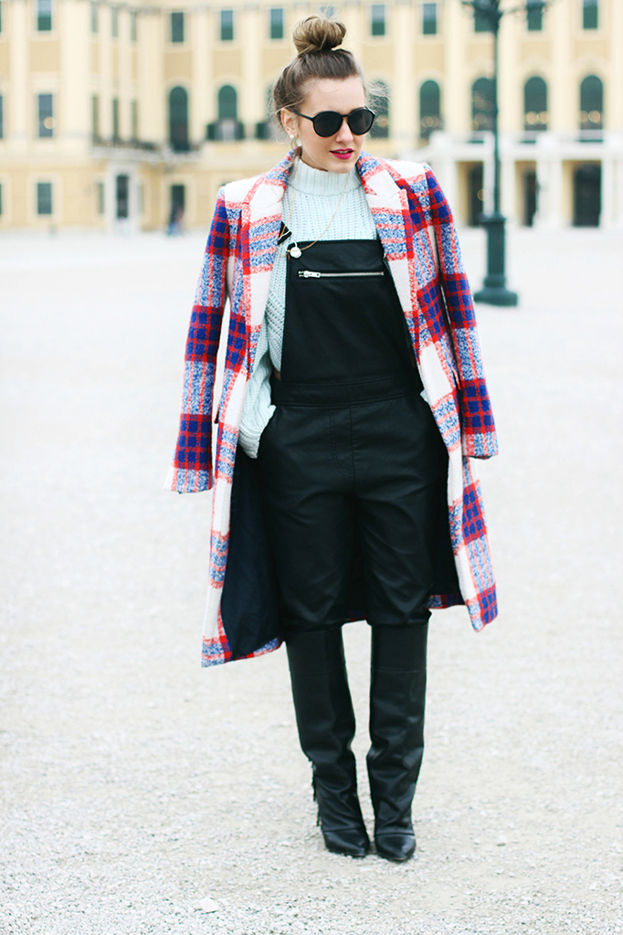overalls and plaid coat outfit - fashion blogger