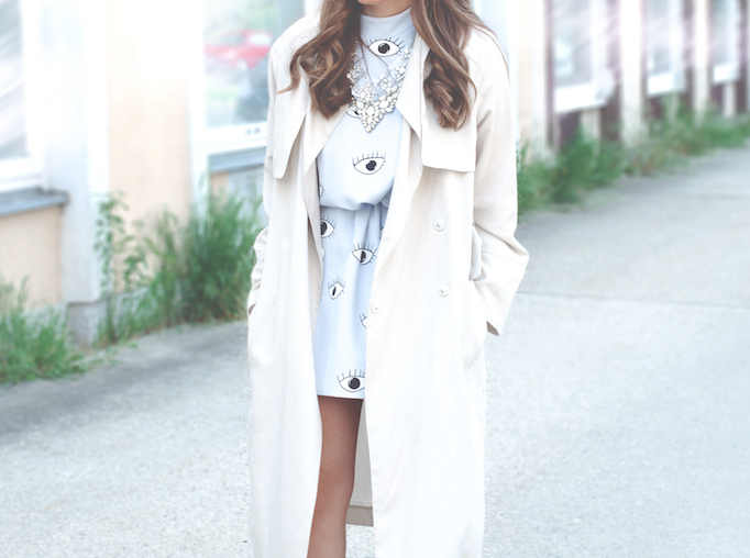 beige trench coat and dress details