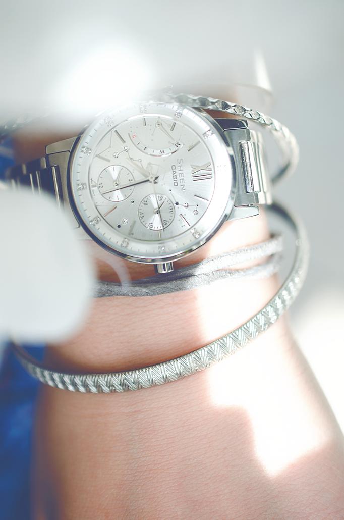 casio sheen silver watch