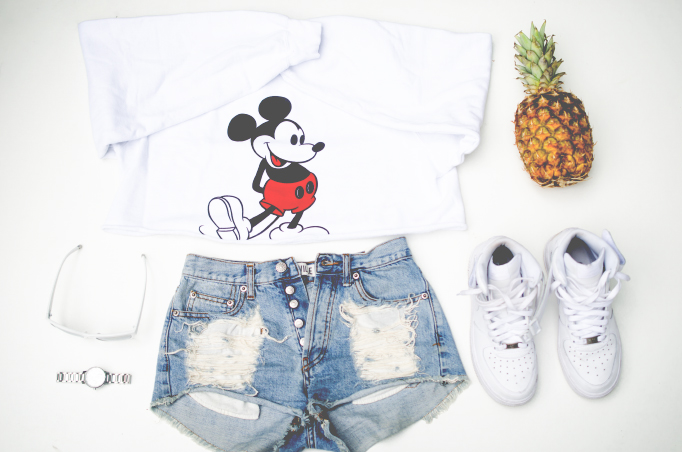 high waisted shorts - nike air force - micky mouse top - pineapple