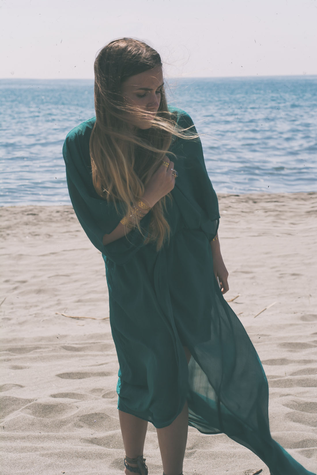 Beach - green maxi dress