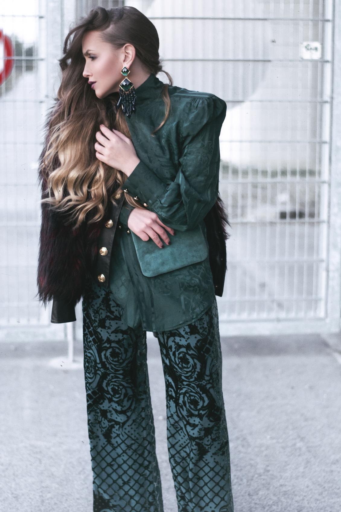 Balmain x H&M Kollektion grüne Bluse