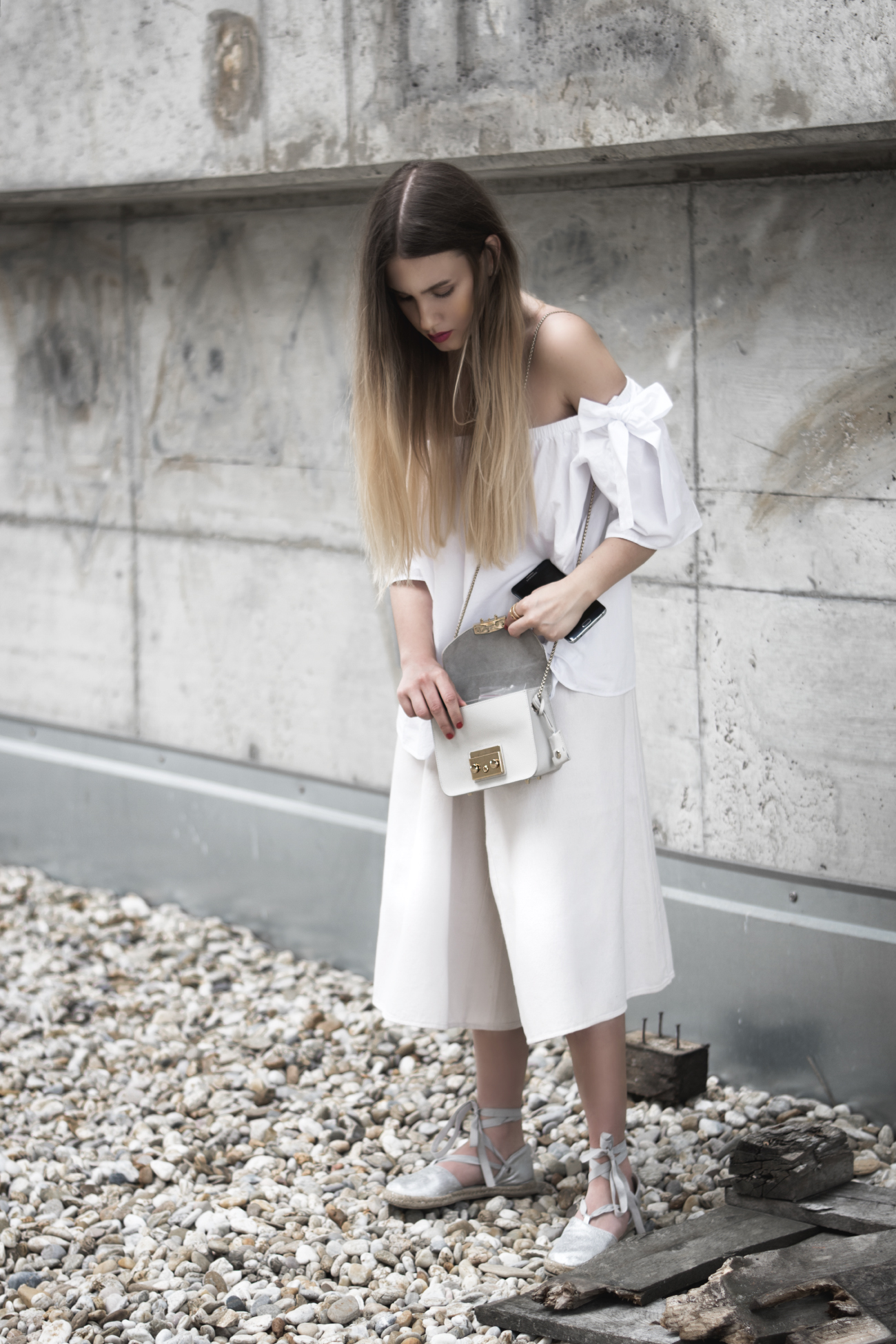 Outfit with white off-shoulder top & furla metropolis f@fleurdemode