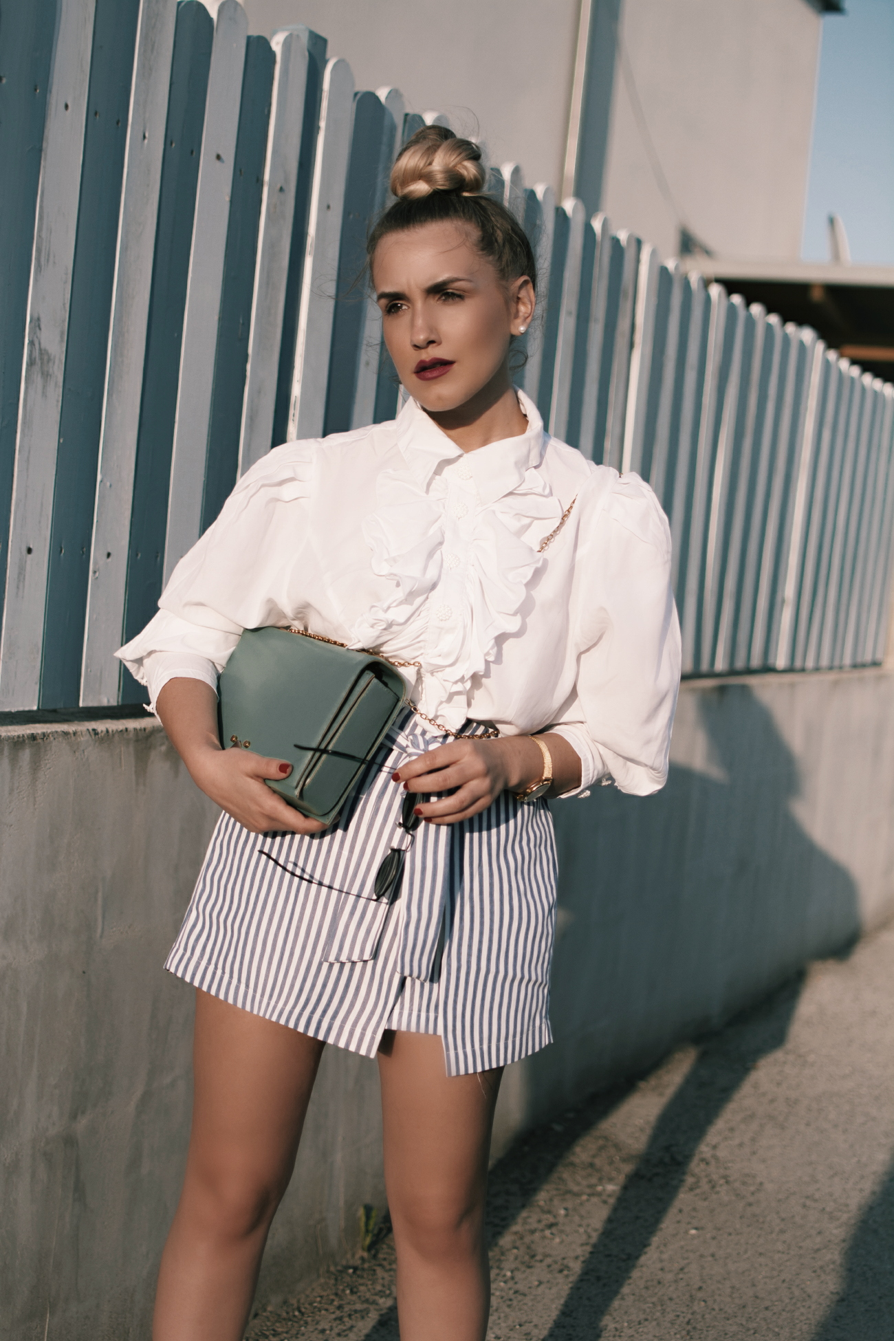 80s Ruffled blouse & striped skirt @fleurdemode