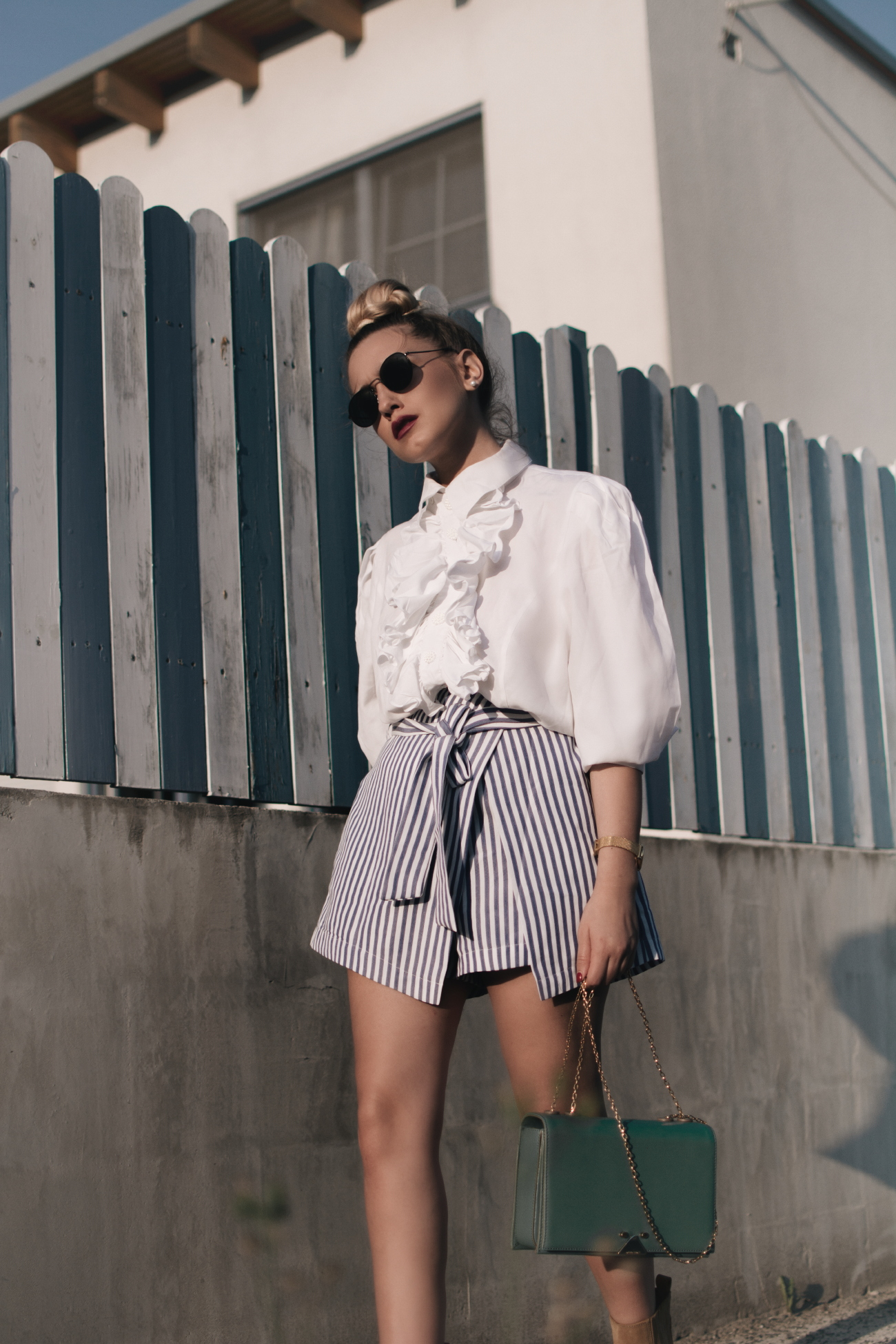 80s vibes via @fleurdemode || Outfit wearing ruffled vintage blouse & striped skirt
